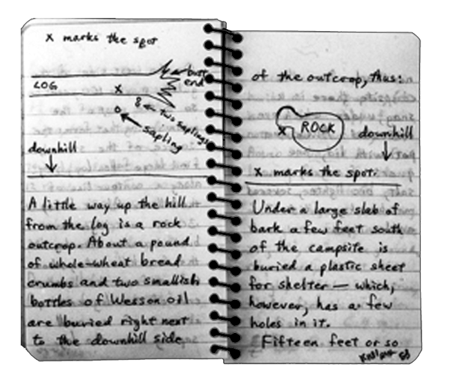 Kaczynski-hand-written-notes-and-map-with-info-on-hidden-food-supplies
